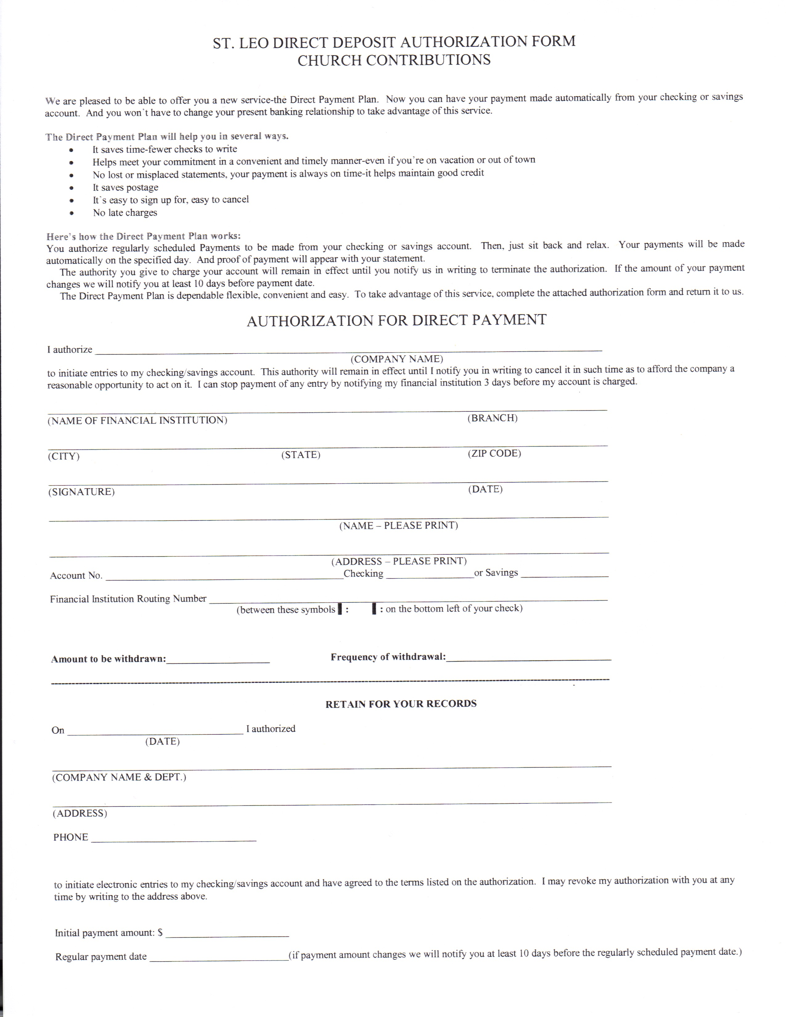 direct deposit form for employees